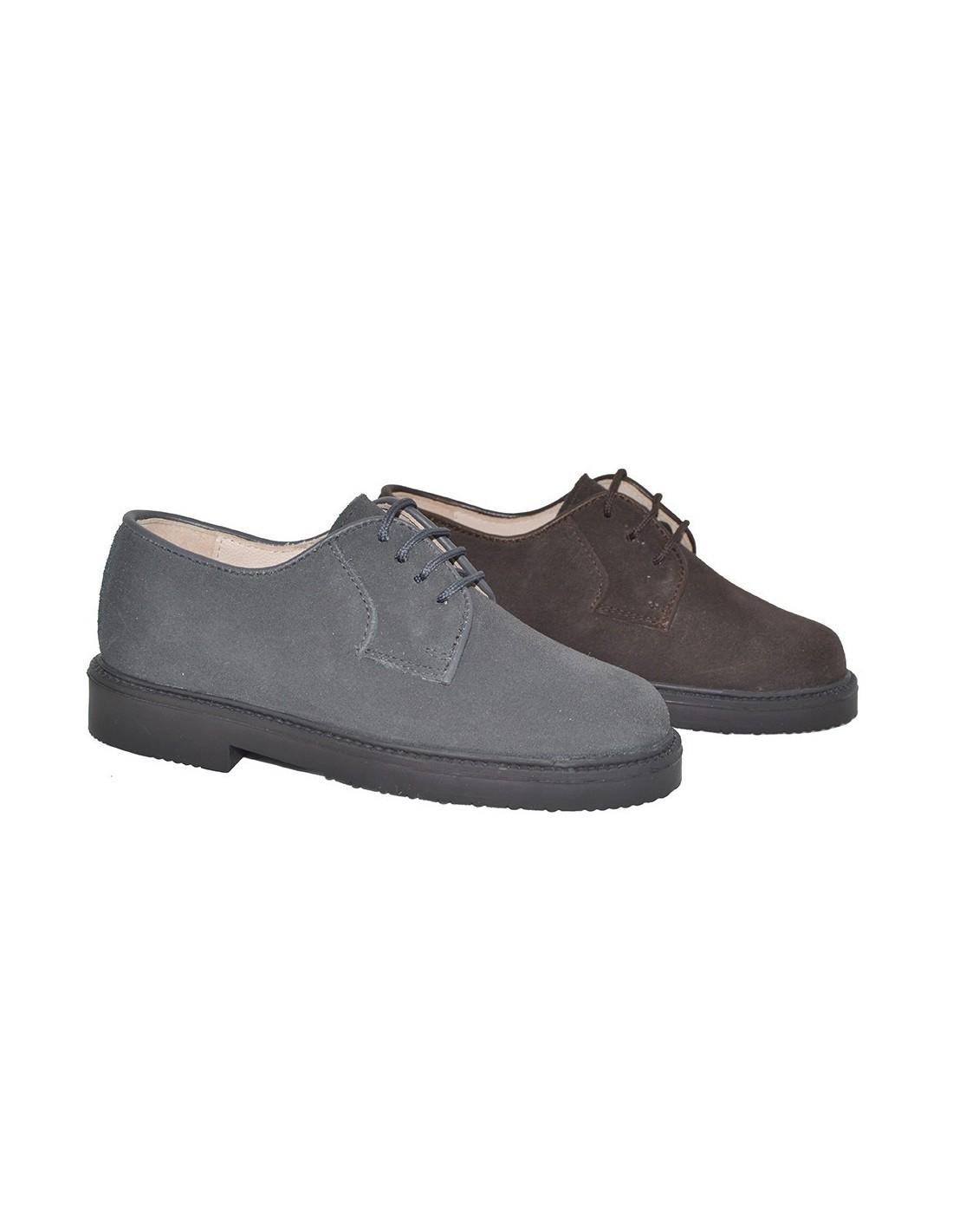 c1092e3da Zapato blucher clásico en serraje. Talla 32 Color CHOCOLATE