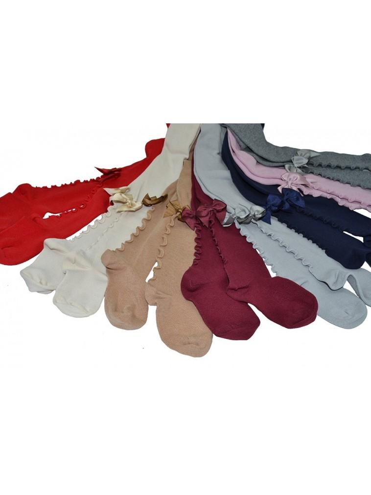 leotardo para niñas en algodón liso con lazo trasero en grosgrain