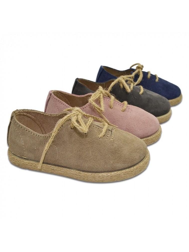 zapato blucher en piel de serraje y piso de cañamo
