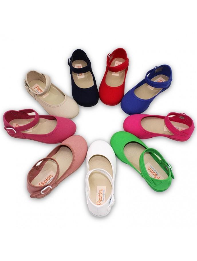 salon abrochado al tobillo lona pique, blanco,marino,rojo,verde,cereza,añil,fuxia,antique, beige
