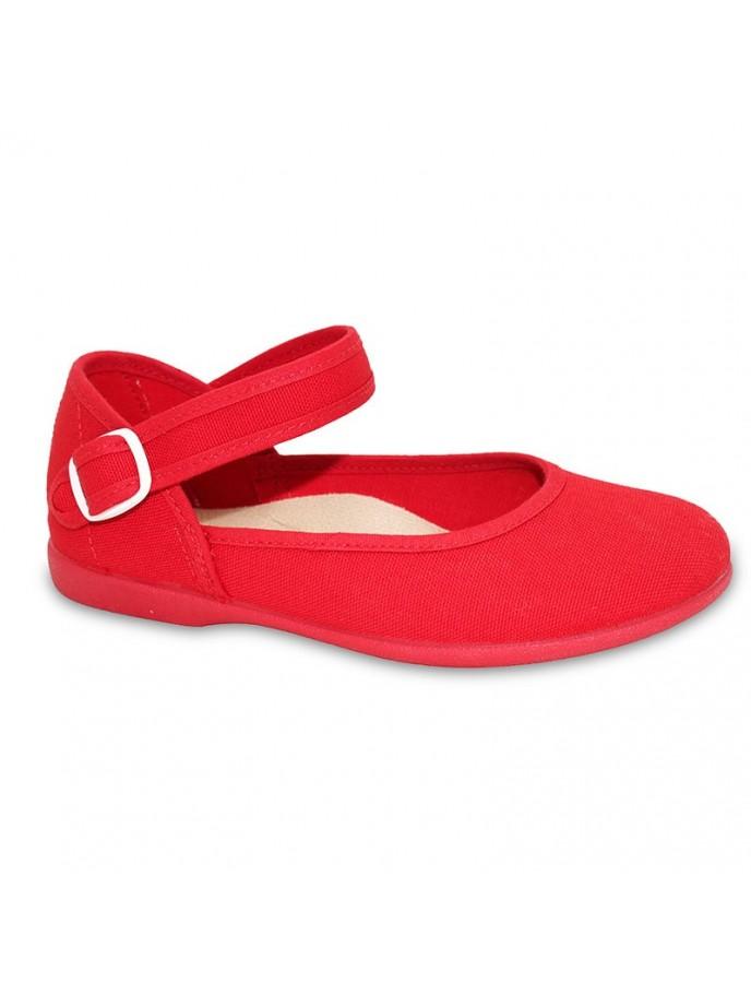 salon lona pique atado al tobillo rojo