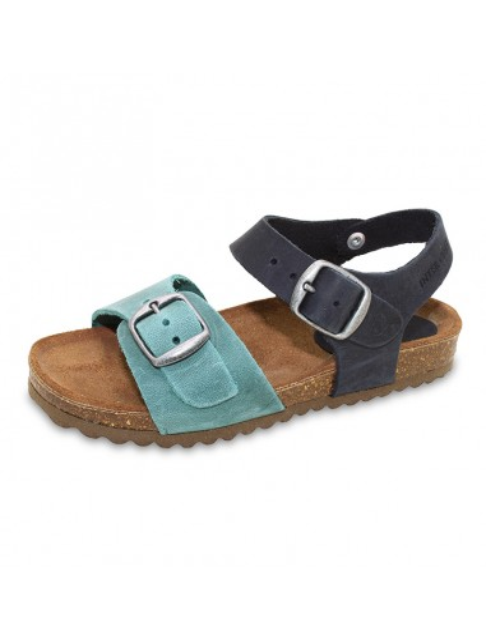 sandalia piso bio interbios con piso corcho y cierre de hebillas para ninos y adultos colores azul y jeans