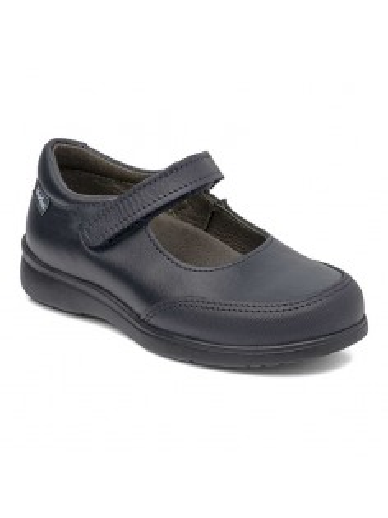 Zapato colegial niña merceditas tira adherente y puntera goma 30200