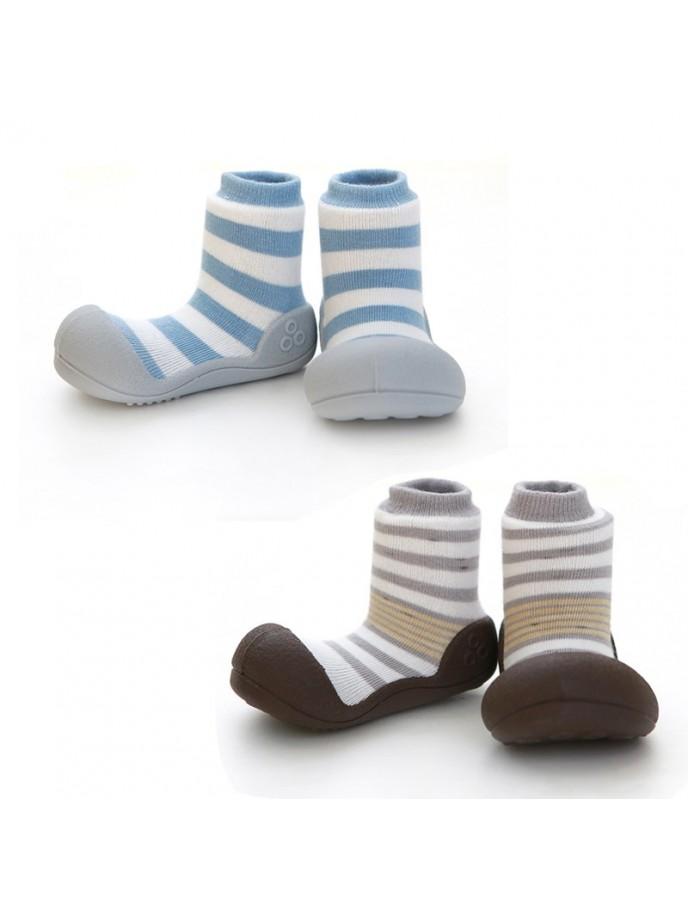 calcetin con suela attipas natural herb colores azul y marron