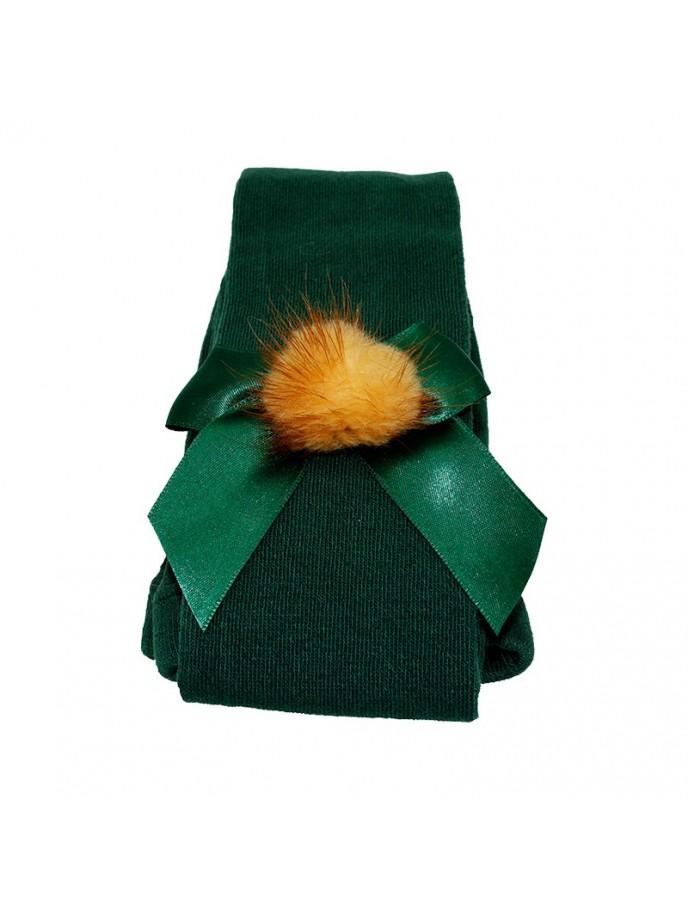 leotardo liso para niñas con lazo de raso y pompon de pelo color verde botella