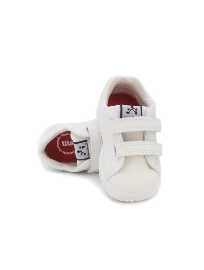 deportivo para niños y niñas New Cronos de Titanitos en piel con puntera de goma color blanco