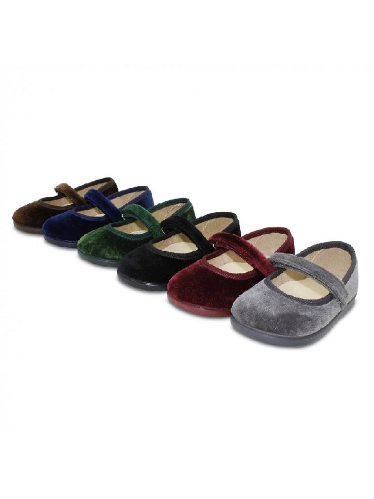 merceditas para niña en terciopelo con cierre adherente color gris, marino, verde, burdeos, marron, negro