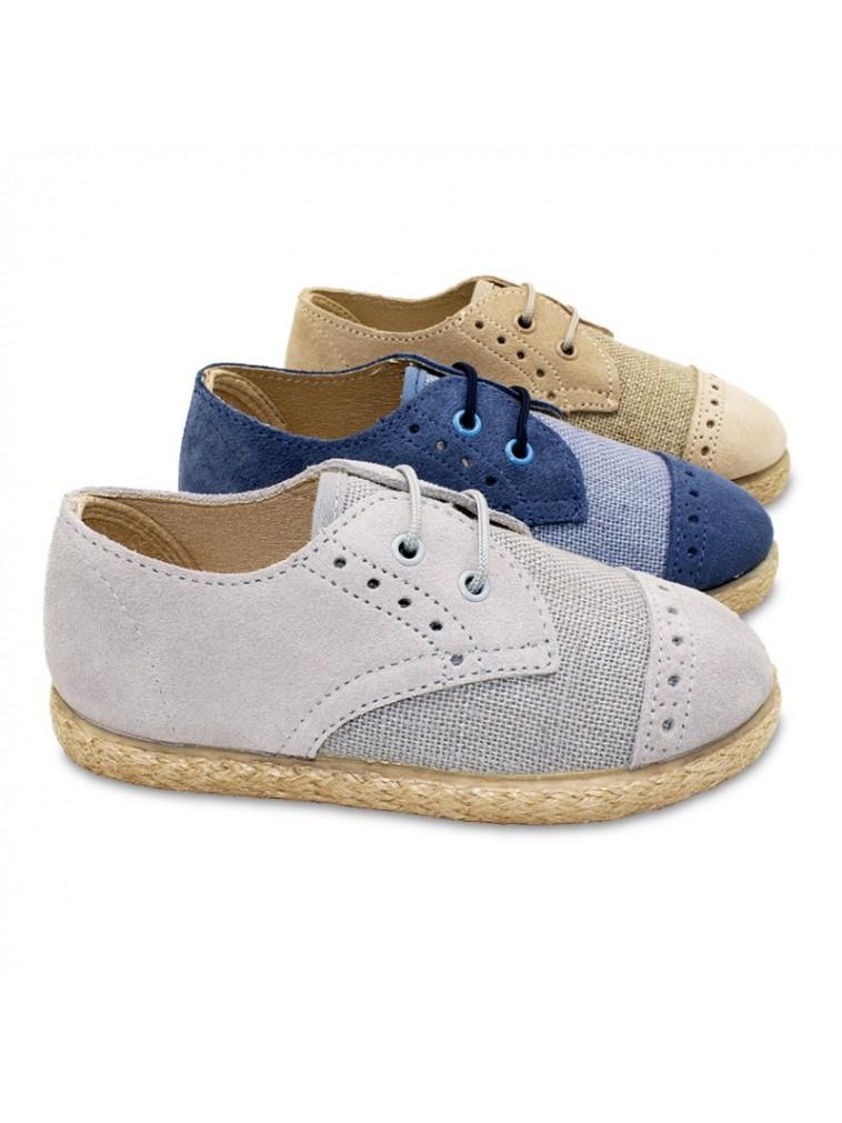 zapato blucher cordones para niños combinado lino y serraje con piso tipo alpargata color gris, natural, beige, azul