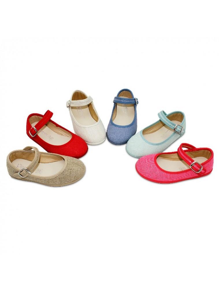 merceditas en lino para niñas cierre de hebilla color rojo, azul, natural, beige, azulon, crudo, coral , verde agua