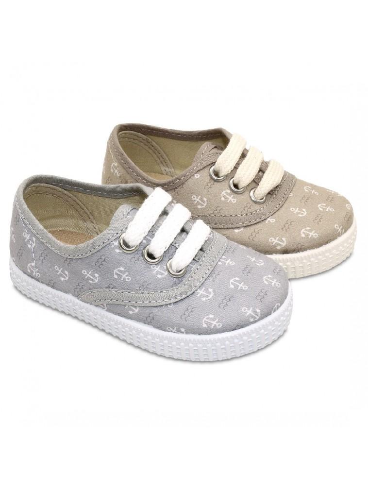 zapatilla tipo bamba con cordones y estampado de anclas para niños y niñas color gris y beige