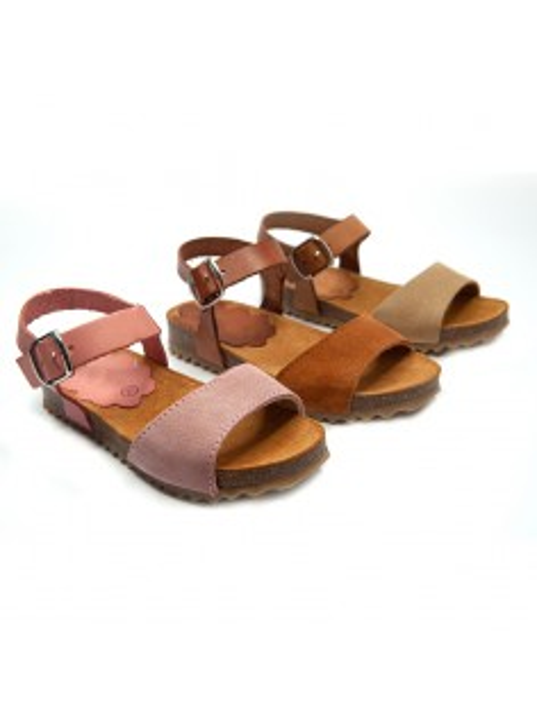 sandalias para niñas y mamás en piel y serraje piso bio en color cuero, beige y rosa