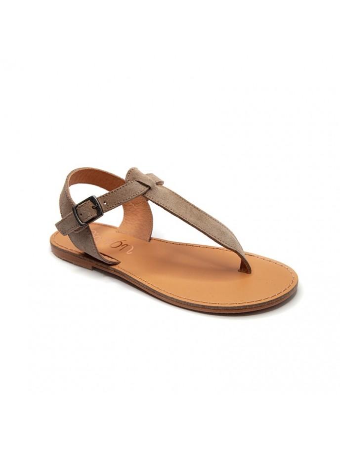 sandalia niña o mamas de vestir piso fino tipo romana o esclava en piel de serraje color natural, piedra o gris