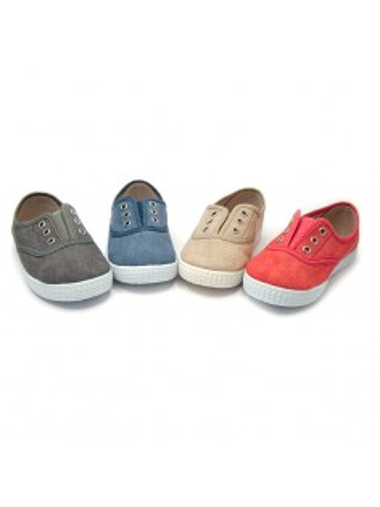 zapatilla tipo bamba elásticos sin cordones en lona ecológica efecto lavado color rojo, azul, gris, beige