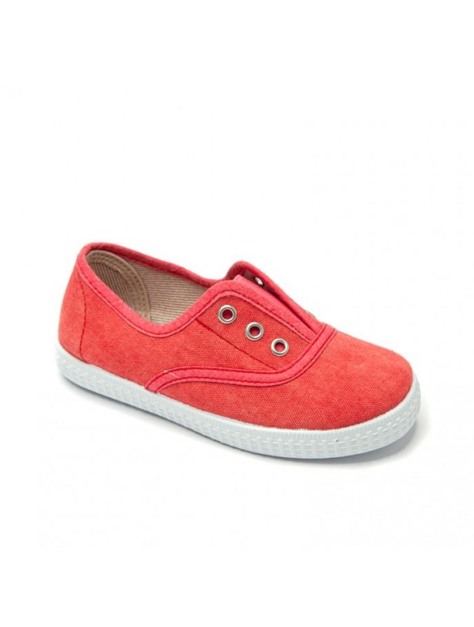 zapatilla tipo bamba elásticos sin cordones en lona ecológica efecto lavado color rojo