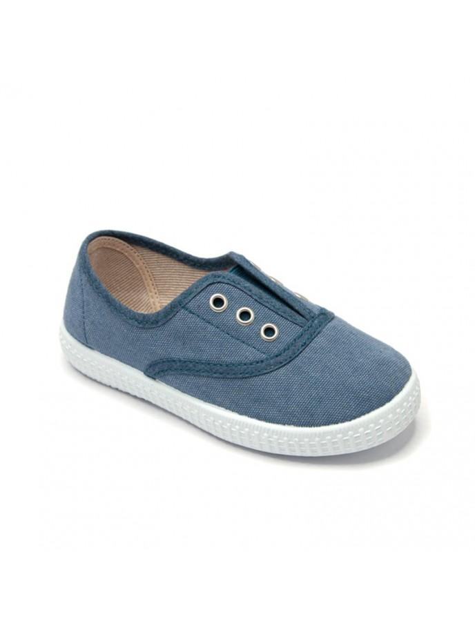 zapatilla tipo bamba elásticos sin cordones en lona ecológica efecto lavado color azul