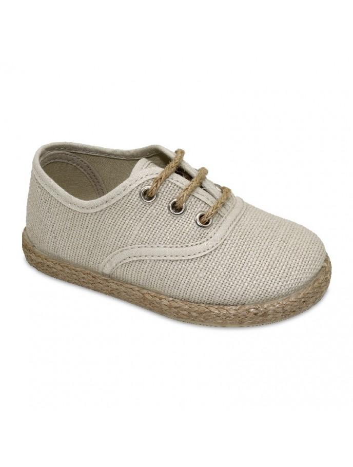 zapato blucher con cordones en tejido de lino y piso yute tipo alpargata color beige