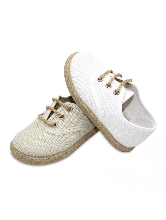 zapato blucher con cordones en tejido de lino y piso yute tipo alpargata color blanco y beige