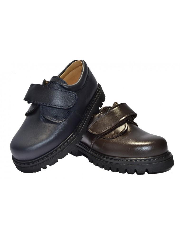 zapato colegial clásico liso cierre adhesivo marrón y marino