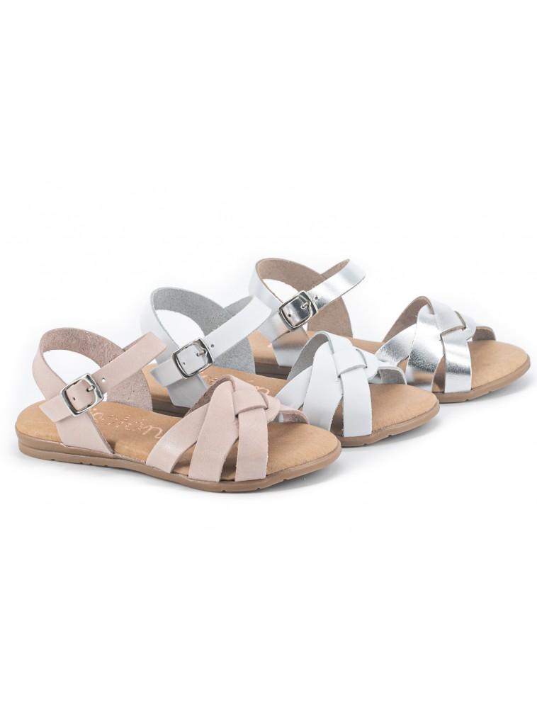 sandalia piel para niñas trenzada con hebilla